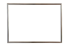 Silver wooden photo frame isolated on white. Saved with clipping Stock Photography