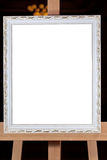 Silver wooden picture frame Royalty Free Stock Images