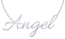 Silver word Angel pendant on chain. Royalty Free Stock Photo