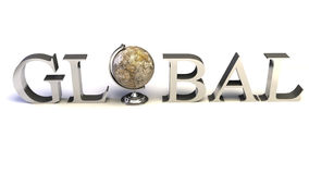 Silver word Global Royalty Free Stock Photo
