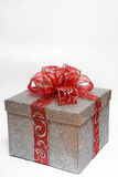 Silver wrapped gift Stock Images