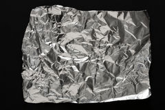 Silver wrinkled foil texture for background stock photography