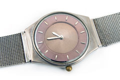 Silver wrist watch Royalty Free Stock Image