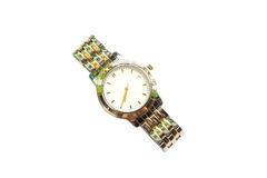 Silver wrist watch  on white background Royalty Free Stock Photography