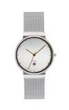 Silver wrist watch on white Stock Photos