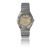 Silver wristwatch. On a white background, with reflection on the surface Stock Illustration