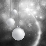 Silver Xmas bulbs decoration greeting card Royalty Free Stock Photo