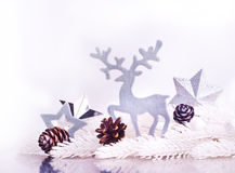 Silver xmas decoration with fur tree branch Royalty Free Stock Images