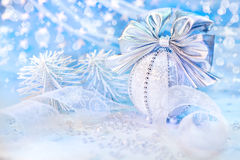 Silver Xmas decorations Royalty Free Stock Photo