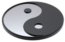 Silver Yin-Yang, symbol of harmony. Computer generated 3d photo rendering Stock Images