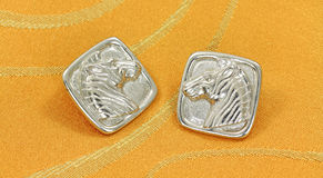 Silver zebra earrings Royalty Free Stock Images