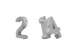 2014 in silver with zero missing. On white background Royalty Free Stock Photo