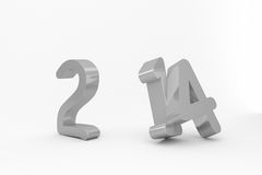 2014 in silver with zero missing. On white background Royalty Free Stock Image