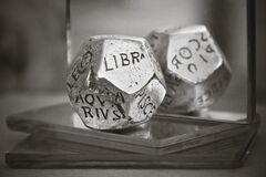 Silver Zidiac 20 Sided Dice Royalty Free Stock Photo