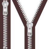 Silver Zipper Set Stock Photography