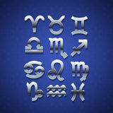 Silver Zodiac Symbol Icons Royalty Free Stock Photo