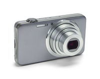 Silver Zoom Camera. Point and Shoot Silver Camera Isolated on a White Background royalty free stock images