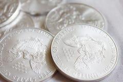 SilveramerikanEagle mynt Arkivfoton