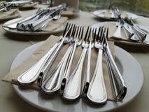 Silverbestick för lyxig matställe Fotografering för Bildbyråer