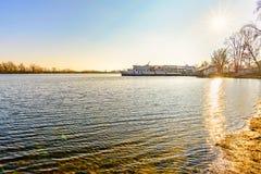 The Silverbridge boat on the Dnieper in Kiev. Kiev/Ukraine - December 8, 2017 - The Silver Breeze boat on the Dnieper in Kiev, Ukraine during a sunny winter stock photos