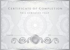 Silvercertifikat-/diplombakgrund (mallen) Royaltyfri Fotografi