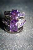 Silvercirkel med purpurfärgad Zircon Royaltyfri Bild
