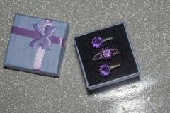 Silvercirkel med purpurfärgad Zircon Arkivfoton
