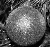 Silvered. Silver Glitter. Chirstmas Tree Bulb Stock Images