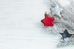 Silvergranträdfilial med julstjärnagarneringar på vit royaltyfri fotografi
