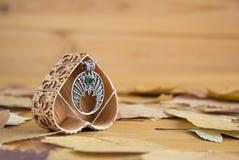 Silverhänge med den gröna stenen royaltyfria foton