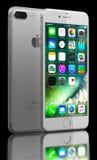 SilveriPhone 7 plus Fotografering för Bildbyråer