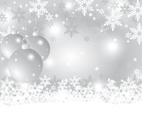 Silverjulbakgrund med julbollar Royaltyfria Bilder