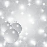 Silverjulbakgrund med julbollar Royaltyfri Bild