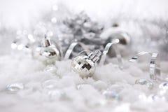 Silverjulgarneringar Arkivfoton
