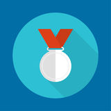 Silvermedal with red ribbon. Stock Photos