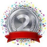 Silvermedaljvektor Försilvra det 2nd stället Konkurrensutmaningutmärkelse Fallande ljusa konfettier rött band isolerat olivgrön Royaltyfri Bild