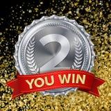 Silvermedaljvektor 2nd ställeprestation Vinnare mästare, nummer ett Oliv förgrena sig realistisk ballonsillustration Royaltyfri Bild