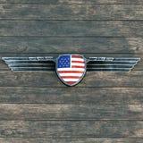 Silvermetallvingar inramar och flaggan av Amerikas förenta stater 3 Royaltyfria Foton