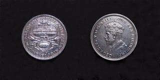 Silvermynt värt 2 shilling för parlamenthuspre-decimal 1927 silver Fotografering för Bildbyråer