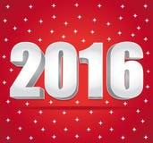 2016 silvernummer på en röd stjärnklar bakgrund lyckligt nytt år vektor illustrationer