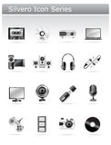 Silvero icon series - multimedia and electronic. Multimedia and electronic icon set. part of silvero icon series. isolated over white Royalty Free Stock Photo