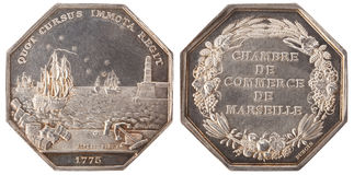 Silvers token. Chamber of Commerce of Marseille. France, the 3rd Republic, isolated on white Stock Photo