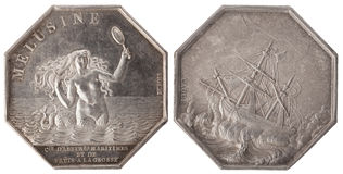 Silvers token. Company Marine agents of the insurance company Melusine. France, 19th century, isolated on white Stock Photo
