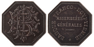 Silvers token. The General Assembly of the French-Egyptian Bank. France, the 3rd Republic, isolated on white Stock Images