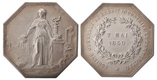 Silvers token. General Industrial Credit Company and commercial May 7, 1859, isolated on white Stock Image