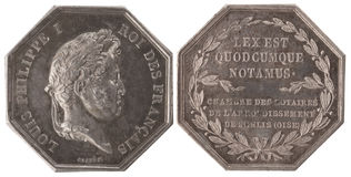 Silvers token. Notaries district of Senlis. France, Louis Philippe I, 19th century, isolated on white Stock Image
