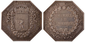 Silvers token. Rhone Alps. Chamber of Commerce of Lyon. France, Louis-Philippe I (1830-1848), isolated on white Royalty Free Stock Images