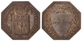 Silvers token. Rhone Alps. The Municipal Council of Lyon. France, Charles X 1826, isolated on white Stock Images