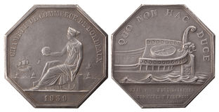 Silvers token. Ship and woman at the sea, Chamber of Commerce 1939 Bordeaux, France, isolated on white Stock Photos