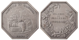 Silvers token. Trade items, Chamber of Commerce Aube. France, the Third Republic, isolated on white Stock Photography